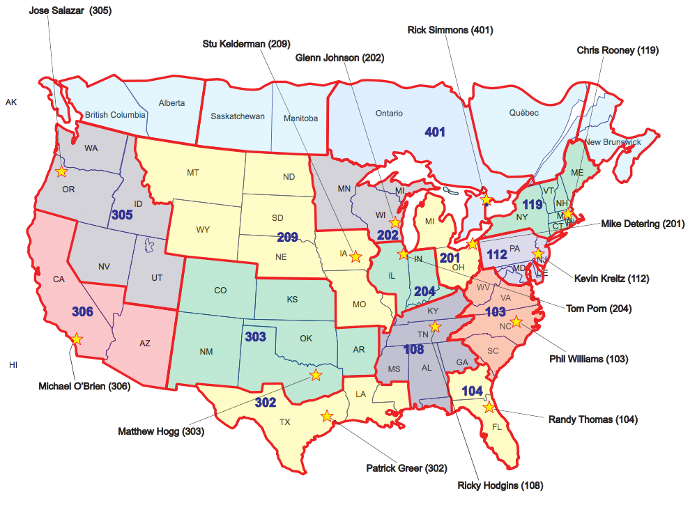 US Canadian Sales Territories Sioux Tools